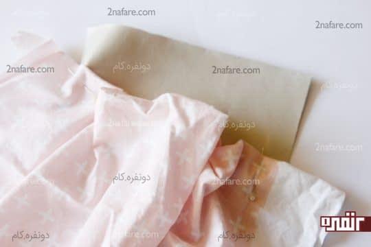 فیکس کردن پارچه جمع شده روی چرم با سنجاق
