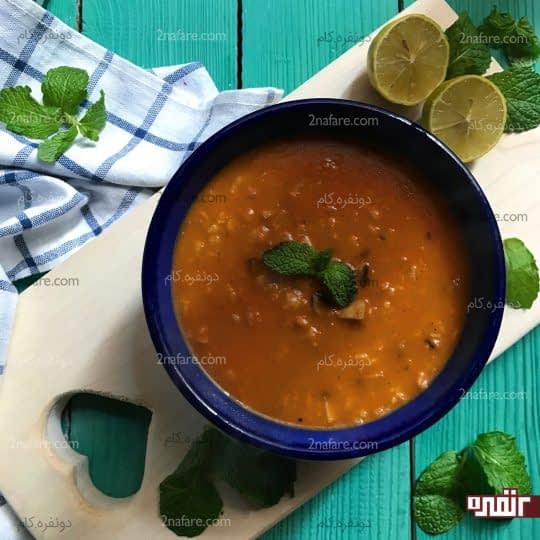 سوپ قارچ با رب گوجه