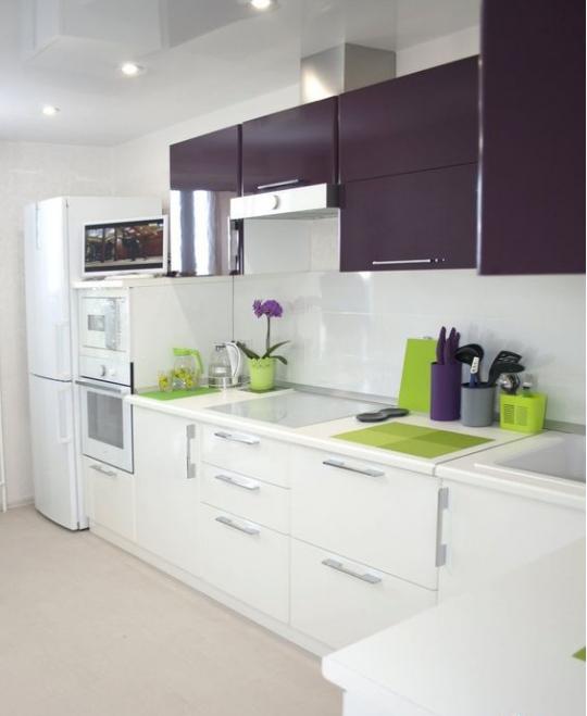آشپزخانه مدرن با کابینت های بنفش