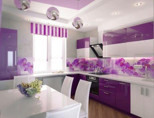 آشپزخونه شیک و جذاب با ترکیب رنگ بنفش
