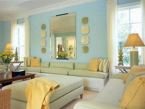 اتاق نشیمنی زیبا با دیوارهای آبی