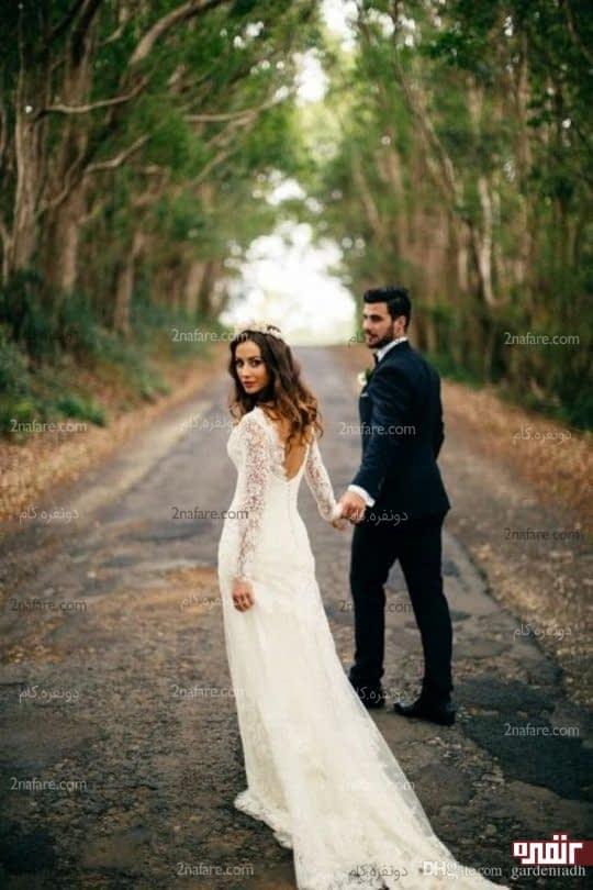 استفاده از فضای با ژست جذاب عروس و داماد