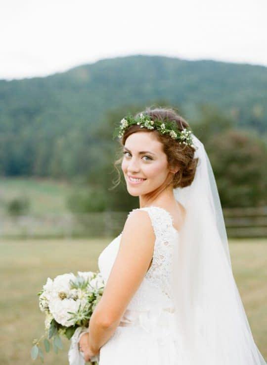 تاج عروس طبیعی و تور عروس