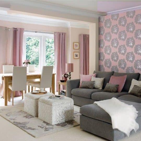 ترکیب زیبای صورتی خاکستری برای دکور اتاق نشیمن