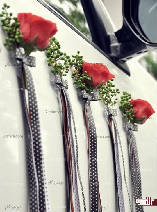 تزیین درب ماشین با گل و روبان