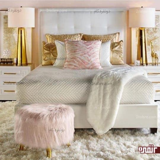 تزیین دکور اتاق خواب با بافت و رنگ های متنوع