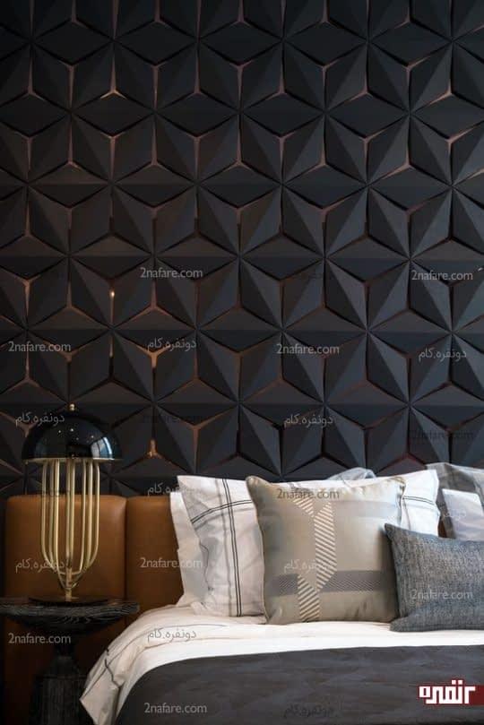 تزیین شیک و زیبای دیوار پشت تخت خواب با پانل دیواری