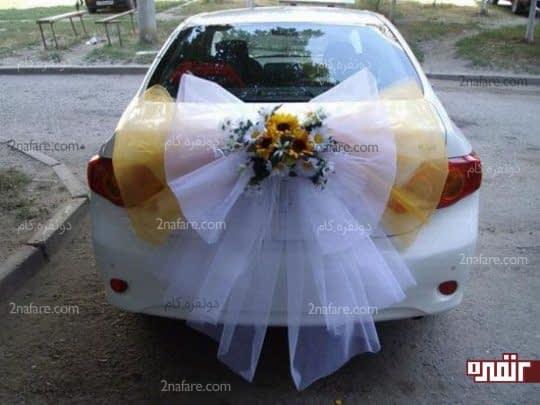 تزیین متفاوت و متنوع ماشین عروس با تور و گل