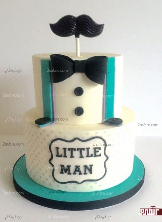 تزیین کیک تولد پسرونه با پاپیون و اکسسوری های مردونه