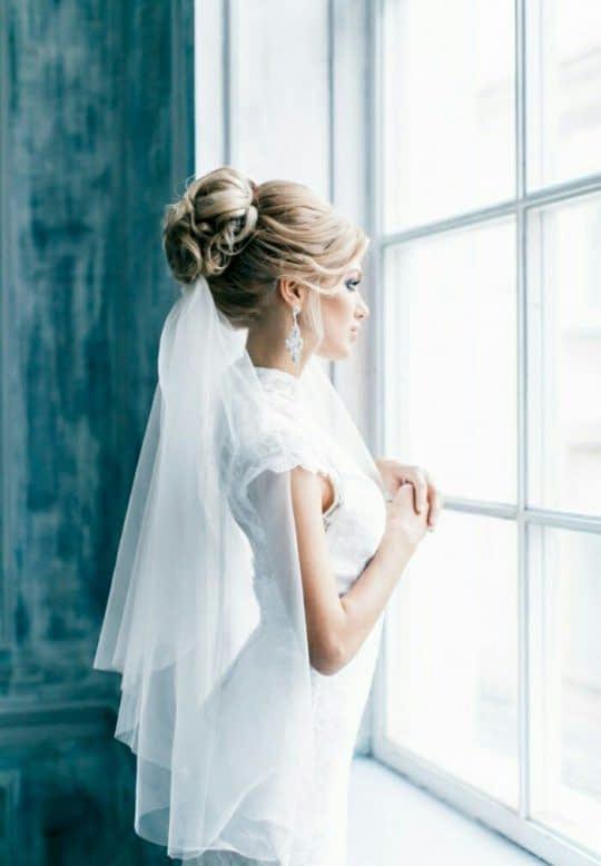 تور دو لایه زیر شینیون عروس