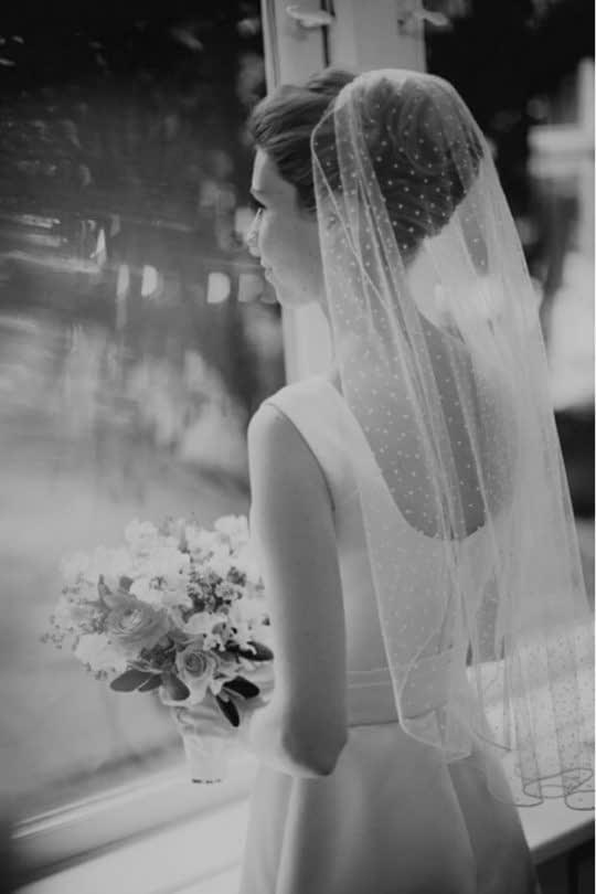 تور سر خالدار عروس