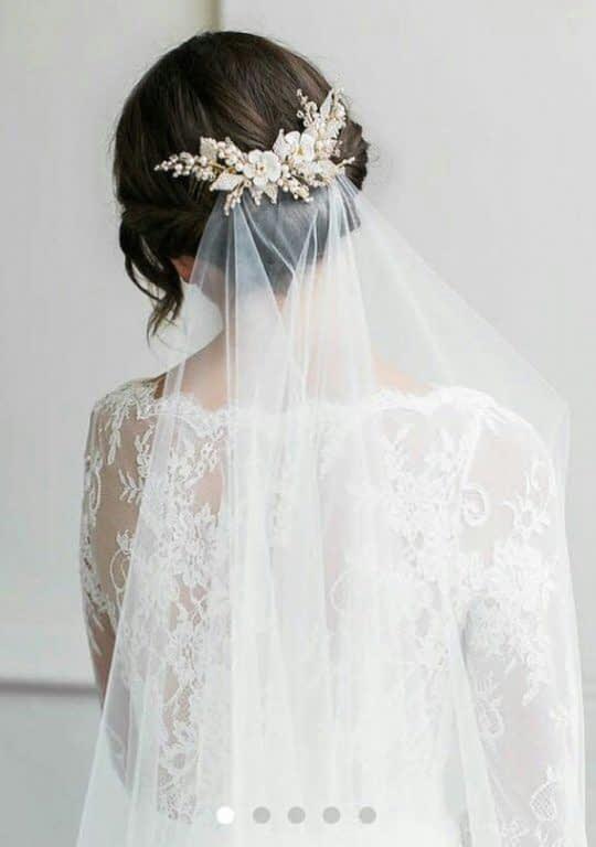 تور سر عروس با گل سر