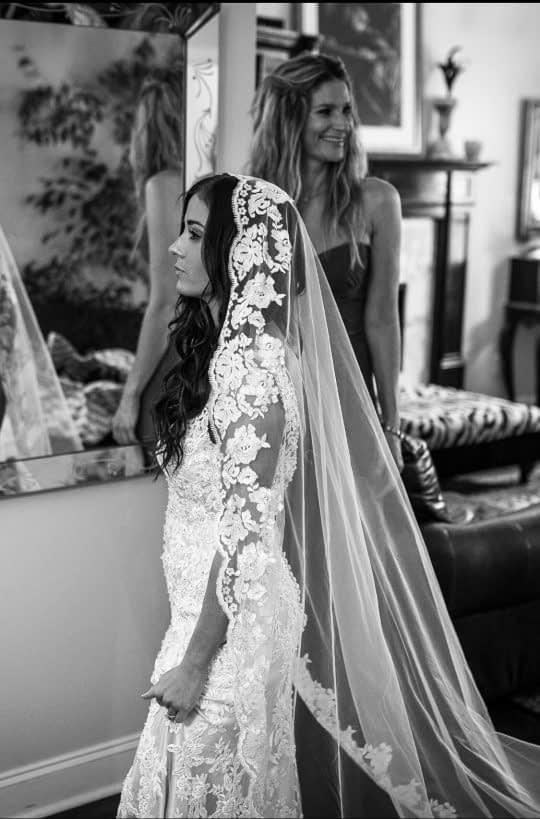 تور عروس حاشیه دار ست لباس عروس
