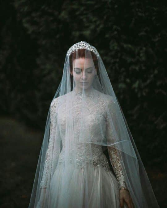 تور عروس و تاج سر