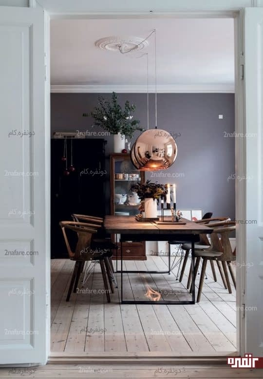 جذابیت آشپزخونه با لامپ آویز مسی