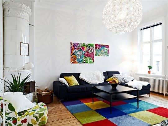 جذابیت دکوراسیون اتاق نشیمن با رنگ های شاد و پرانرژی