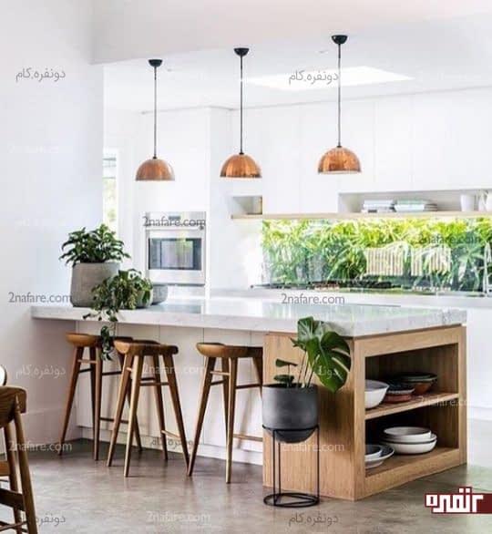 دکور جذاب آشپزخانه با تلفیق سنگ، چوب و فلز