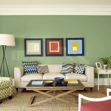 رنگ سبز در اتاق نشیمن
