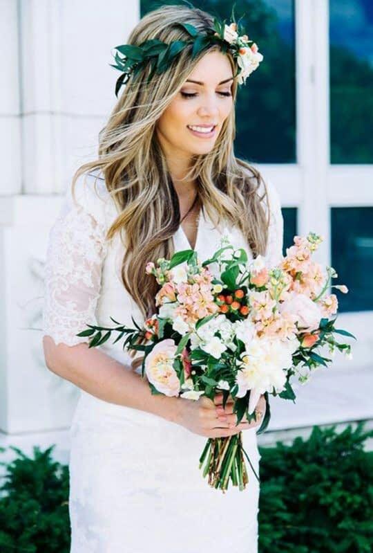 ست تاج و گل طبیعی عروس