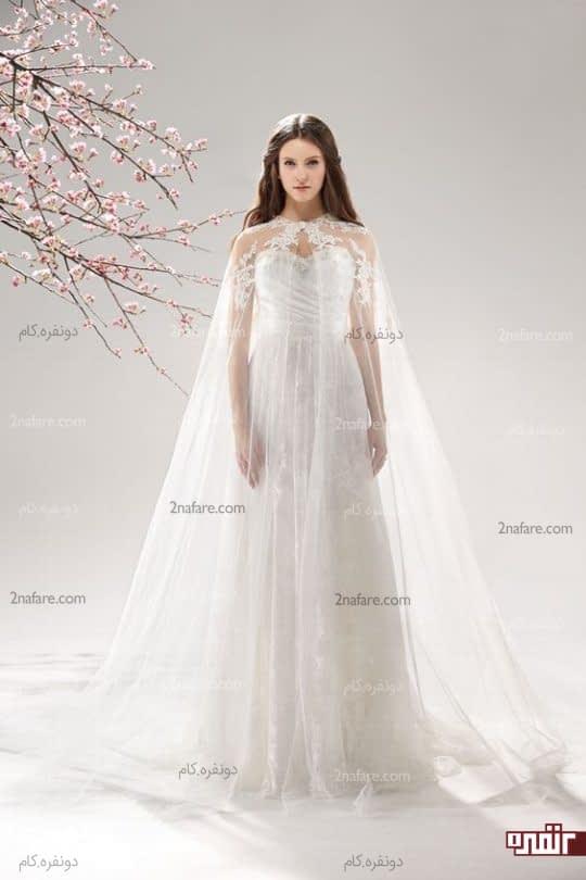 شنل عروس بلند با حریر کار شده