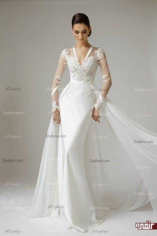 لباس عروس آستین بلند با دامن بلند و شیک