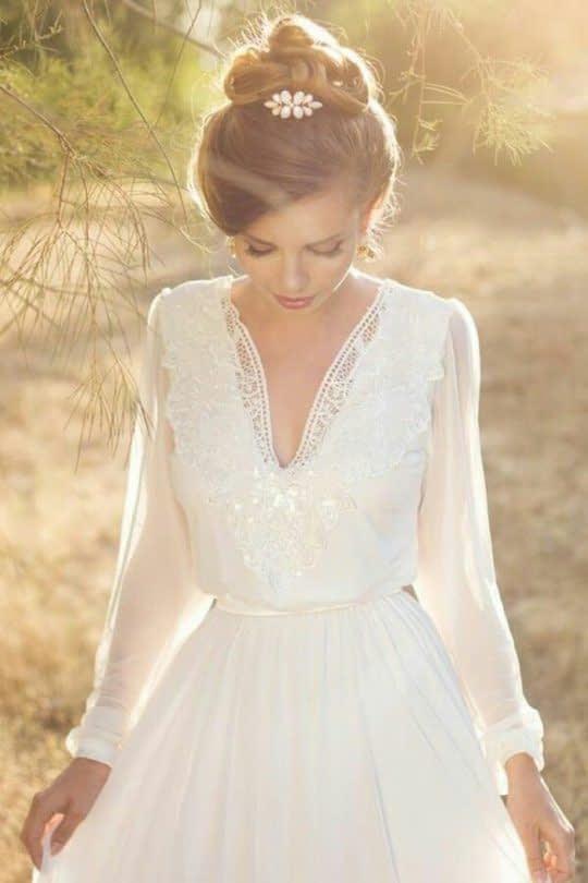 لباس عروس آستین بلند توری گشاد
