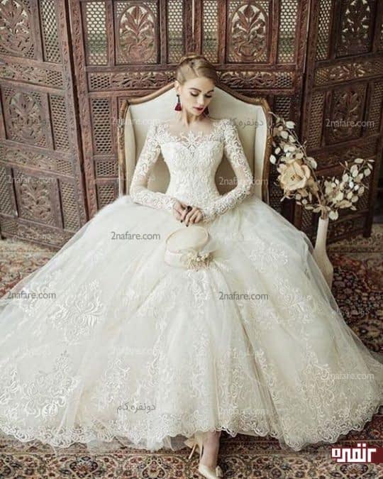 لباس عروس آستین بلند شیک با دامن پفی