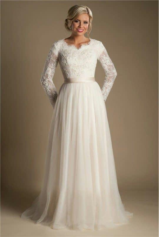 لباس عروس آستین دار دانتل