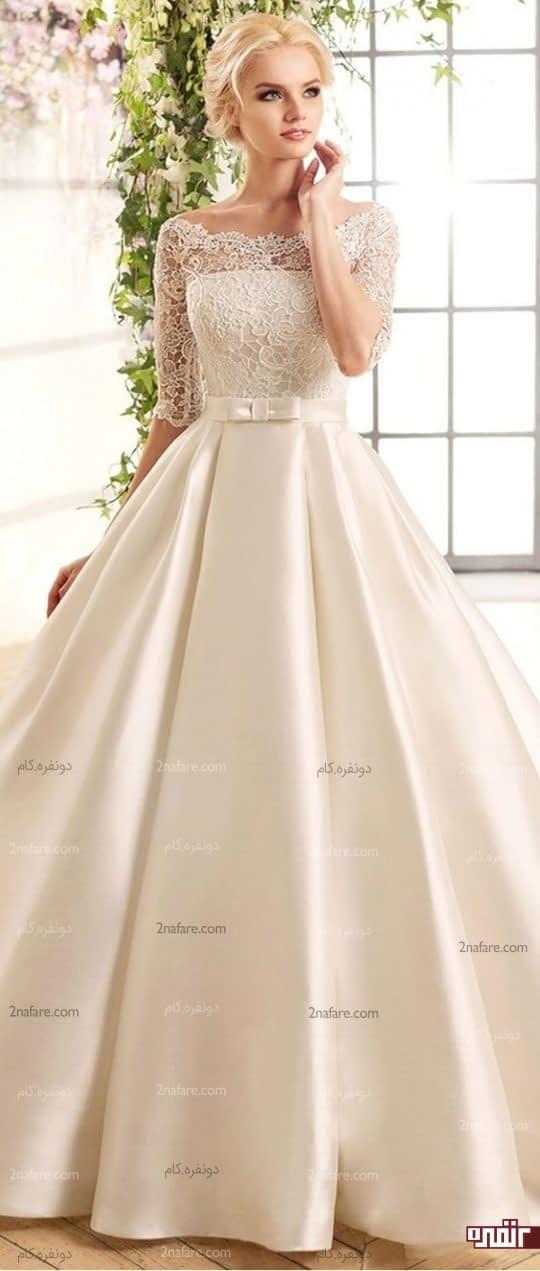 لباس عروس آستین دار شیک با دامن ساتن