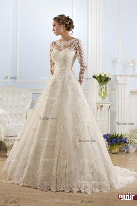 لباس عروس آستین دار شیک و جذاب
