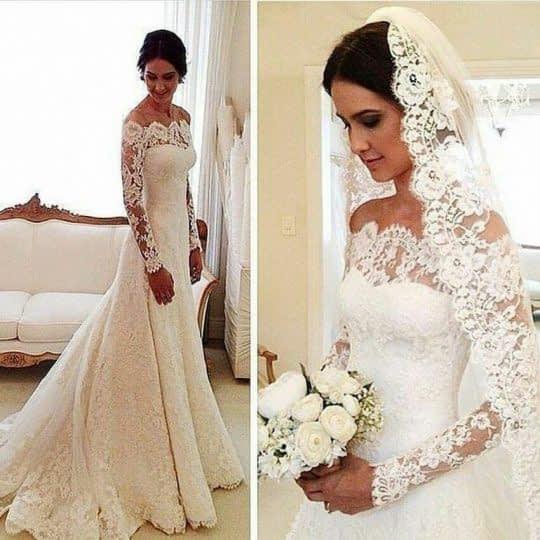 لباس عروس آستین دانتل بلند