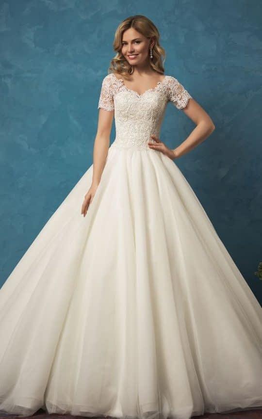 لباس عروس آستین کوتاه شیک و جذاب