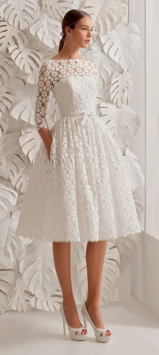 لباس عروس دامن کوتاه و آستین دار