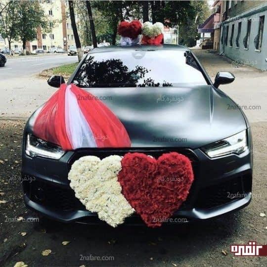 ماشین عروس خاص با ترکیب گل و حریر