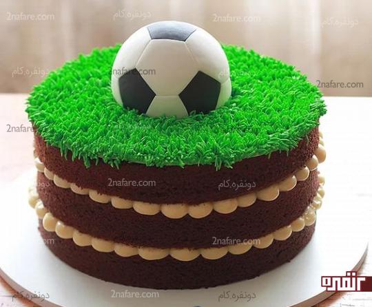 مدل کیک تولد پسرونه با طرح فوتبالی