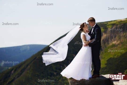 ژست عروس داماد در طبیعت