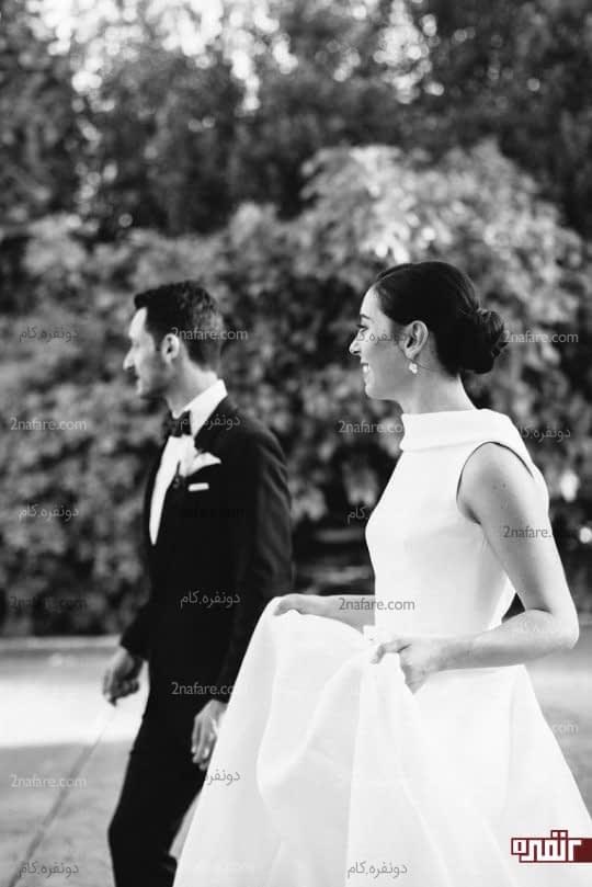 ژست عکس سیاه سفید عروس داماد
