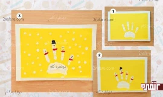کارت پستال آدم برفی های کوچولو