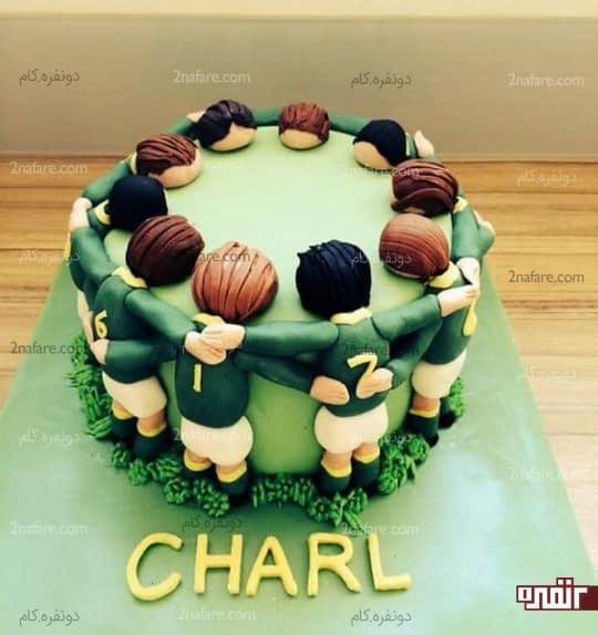 کیک تولد پسرونه طرح فوتبالی
