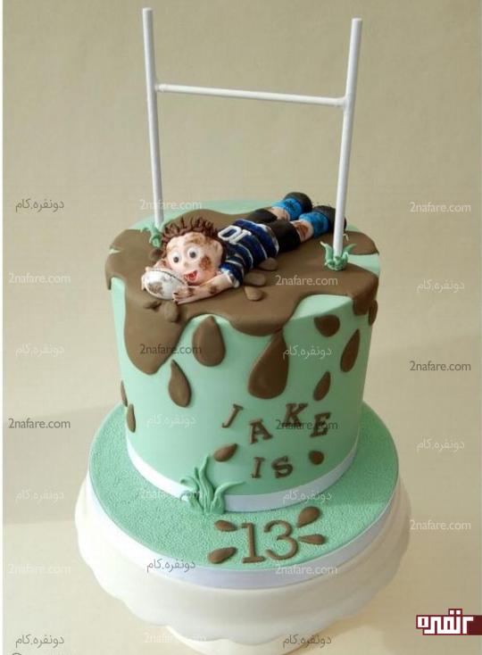 کیک تولد پسرونه ورزشی با تزیین فوندانت