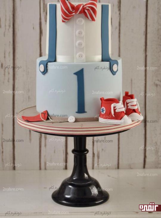 کیک پسرونه یک سالگی با تزیینات جذاب