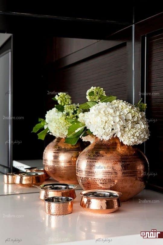 گلدان و ظروف تزیینی مسی شیک و جذاب
