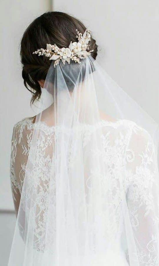 گل سر با تور عروس