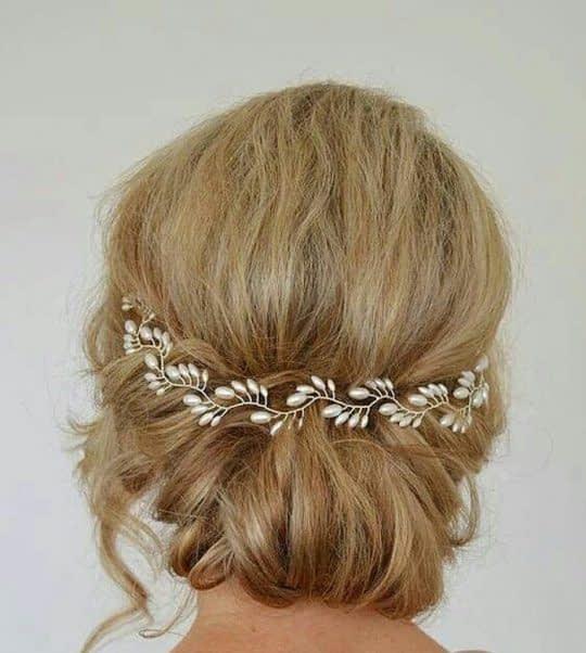 گل سر عروس برای موهای شینیون شده