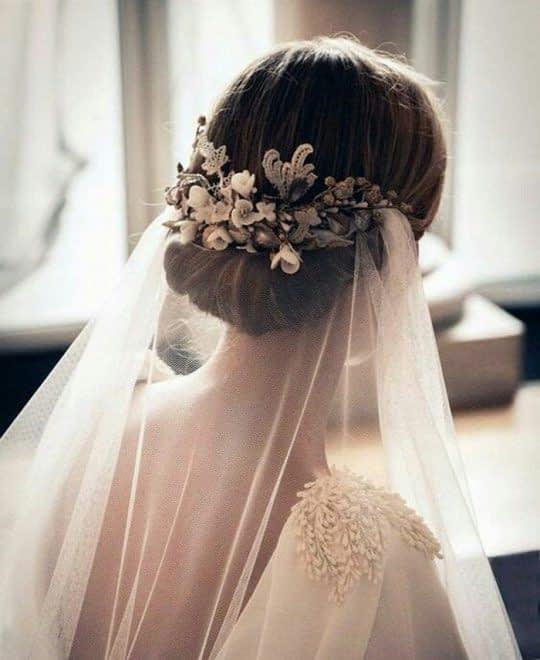 تور عروس روی شینیون