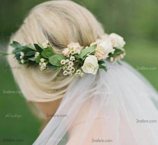 گل طبیعی برای شینیون و تور سر عروس
