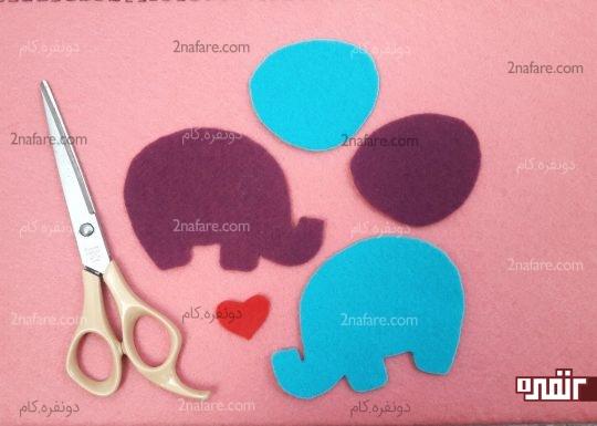 برش زدن فیل ها برای چسباندن روی جعبه
