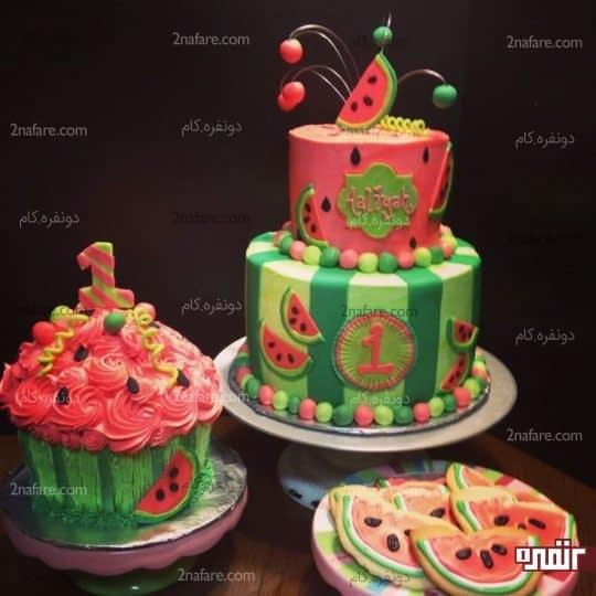کیک تولد با تم هندوانه ای