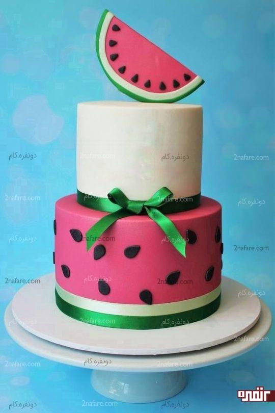 مدل کیک زیبا با تزیین فوندانت هندوانه ای