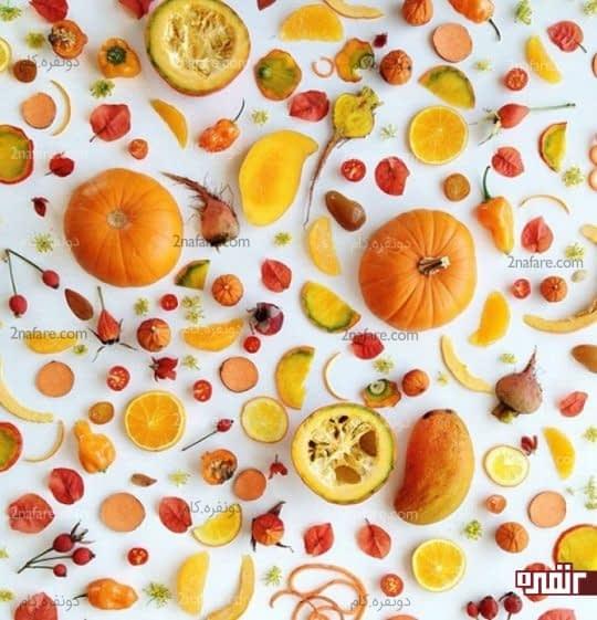 صیفیجات و میوه های قزمز و نارنجی